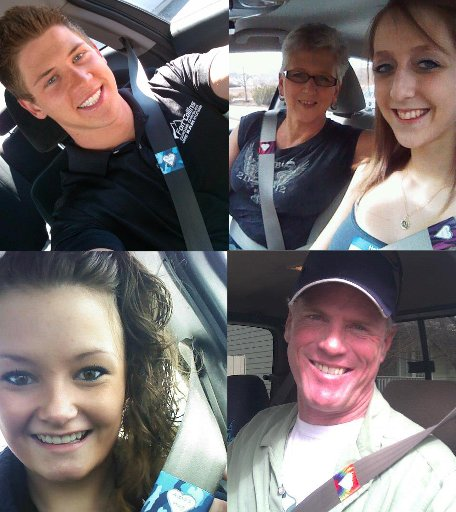 Friends and acquaintances post photos of themselves wearing seat belts on Facebook in honor of Alexa Johnson, who died in a car accident on Feb. 10.